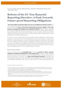 Cover: Reform of the EU Non-financial  Reporting Directive: A Push Towards  Future-proof Reporting Obligations