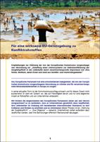 """Cover Forderungspapier """"Für eine wirksame EU-Gesetzgebung zu Konfliktrohstoffen"""""""