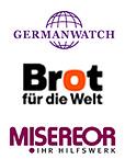 Logos von Germanwatch, Misereor, Brot für die Welt