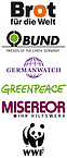 Bild Logos TRANSFORM Greenpeace, Germanwatch, Brot für die Welt, Misereor, BUND, WWF
