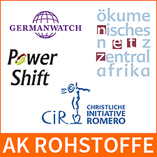 Logos-AK Rohstoffe, CiR, Germanwatch, oek, Powershift