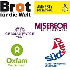 Logos Amnesty International, Brot für die Welt, Germanwatch, Misereor, Oxfam, Südwind