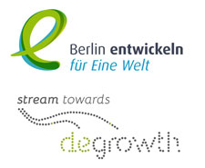 Logos Eine Welt-Promotor/innen in Berlin und Stream towards Degrowth