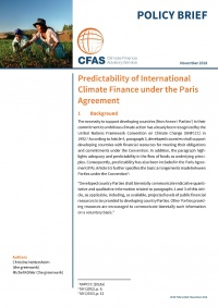CFAS Policy Brief COP24: Predictability of Climate Finance under the Paris Agreement
