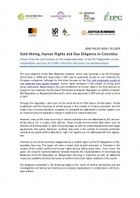 Gold Mining, Human Rights and Due Diligence in Colombia