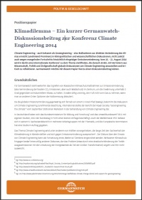 Cover Klimadilemma, Positionspapier zu Climate Engineering