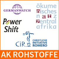 Logos-AK Rohstoffe, CiR, Germanwatch, oek, Powershift