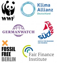 Logoteppich Germanwatch WWF Fossil free Suedwind Fair Finance Institute Klima Allianz