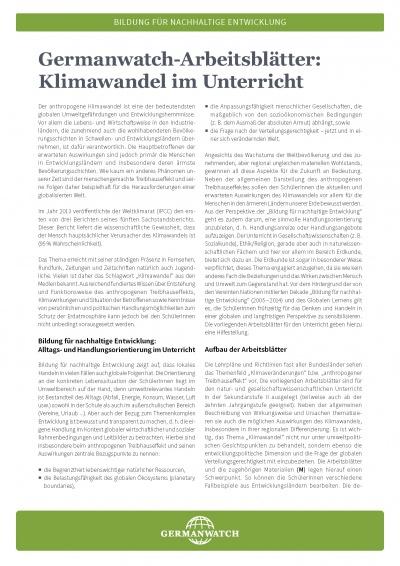 germanwatch arbeitsbl tter klimawandel im unterricht germanwatch e v. Black Bedroom Furniture Sets. Home Design Ideas