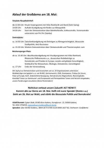 Programm und Ablauf Demonstration in Koblenz