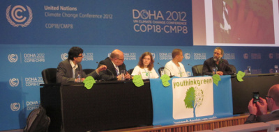 Podium COP 18 Altmaier, Bals, Youthinkgreen
