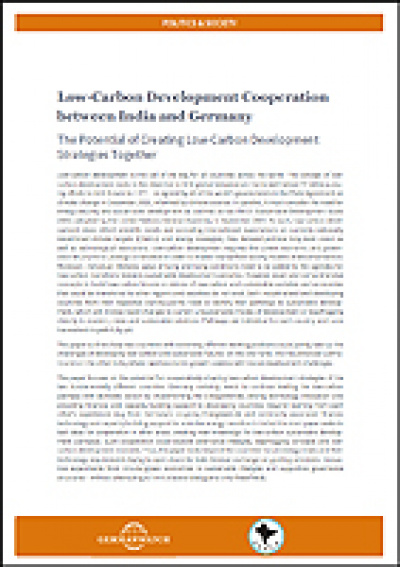 Cover Low-Carbon Development Cooperation India-Germany