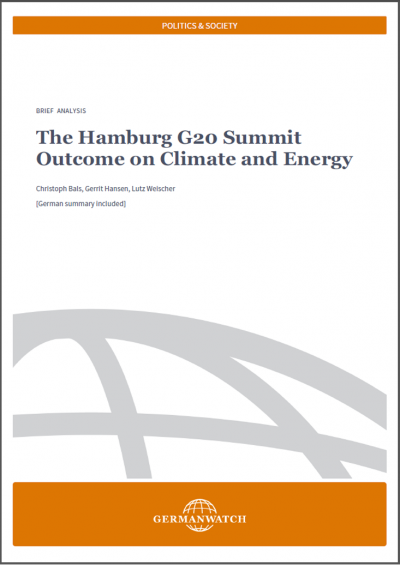 Cover: The Hamburg G20 Summit Outcome on Climate and Energy